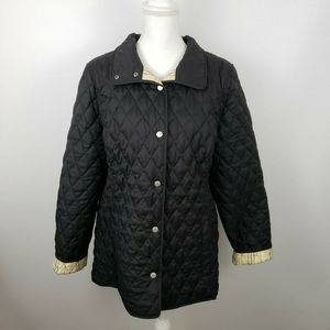 LL Bean Lg Quilted Riding Barn Jacket Coat Plaid